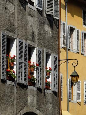 Flower Bedecked Shuttered Windows, Rue Sainte-Claire, Annecy, Rhone Alpes, France, Europe by Richardson Peter