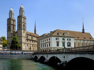 Grossmunster Church and Munster Bridge over the River Limmat, Zurich, Switzerland, Europe by Richardson Peter