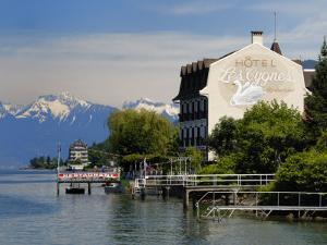 Lakeside Hotel, Lac Leman, Evian-Les Bains, Haute-Savoie, France, Europe by Richardson Peter