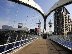 Lowry Bridge over the Manchester Ship Canal, Salford Quays, Greater Manchester, England, UK by Richardson Peter