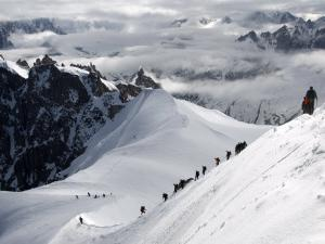 Mountaineers and Climbers, Mont Blanc Range, French Alps, France, Europe by Richardson Peter