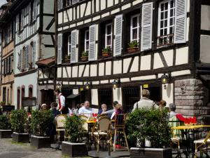 Restaurant, Timbered Buildings, La Petite France, Strasbourg, Alsace, France, Europe by Richardson Peter