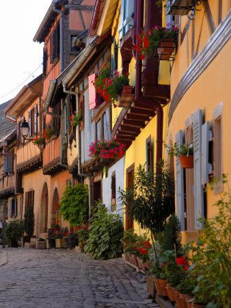 Timbered Houses on Cobbled Street, Eguisheim, Haut Rhin, Alsace, France, Europe