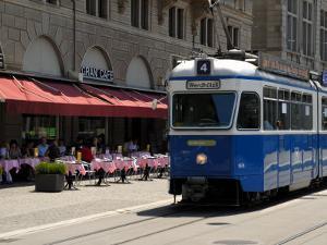 Tram and Restaurant, Zurich, Switzerland, Europe by Richardson Peter