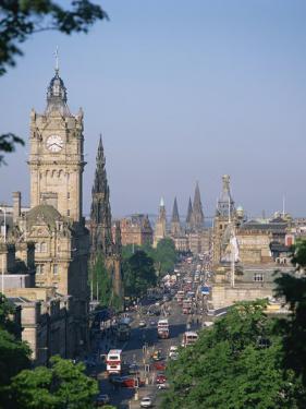 Princes Street Including the Waverley Hotel Clock Tower, Edinburgh, Lothian, Scotland, UK by Richardson Rolf