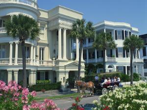 Tourists in Horse Drawn Vehicle, East Battery, Charleston, South Carolina, USA by Richardson Rolf