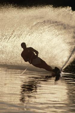 Water Skier Splashing on a Turn by Rick Doyle