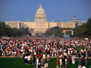 Crowd of People at Washington Mall for the Names Project Aids Memorial Quilt, Washington Dc, USA by Rick Gerharter