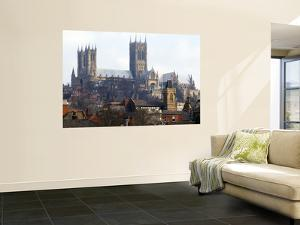 Lincoln Cathedral over Rooftops by Rick Gerharter
