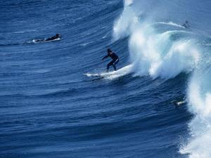 Surfers Catching a Wave, Santa Cruz, USA by Rick Gerharter