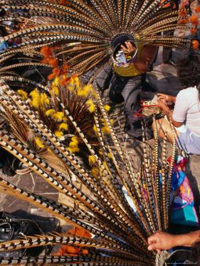 Traditional Headdress Used in Native Dance Outside the Basilica De Guadalupe, Mexico City, Mexico by Rick Gerharter