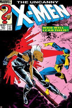 Uncanny X-Men No.201 Cover: Storm and Cyclops by Rick Leonardi