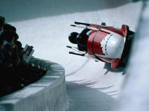 Bobsled in the Bobsleigh Bullet at Canada Olympic Park, Calgary, Canada by Rick Rudnicki