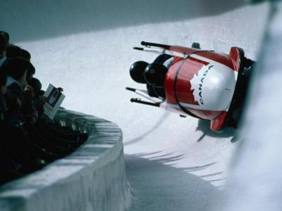 Bobsled in the Bobsleigh Bullet at Canada Olympic Park, Calgary, Canada