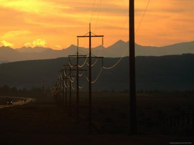 Powerlines at Sunset, Canada