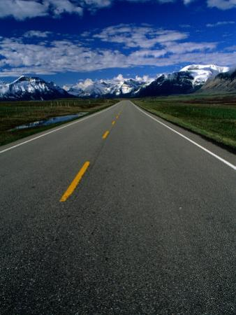 Road in Waterton Lakes National Park, Rocky Mountains, Waterton Lakes National Park, Canada