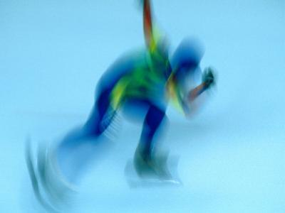 Speed Skater in Olympic Oval, Calgary, Canada