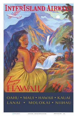 Vintage Travel Poster Art Print Hawaii Kauai Hanalei Bay Surf Rick Sharp