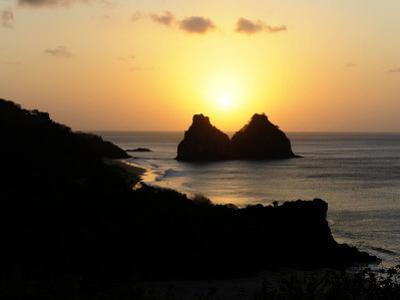 Sunset over Rocky Islets on the Coast of Brazilian Island Fernando De Noronha, October 2008