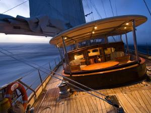 """Sy """"Adele"""", 180 Foot Hoek Design, Evening Sailing Off the Coast of Brazil, February 2007 by Rick Tomlinson"""