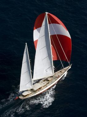 "Sy ""Adele"", 180 Foot Hoek Design, Underway Off Bora Bora Island, French Polynesia by Rick Tomlinson"