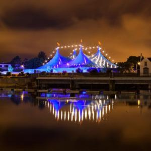 Circus Style Blue Tent At Night by rihardzz