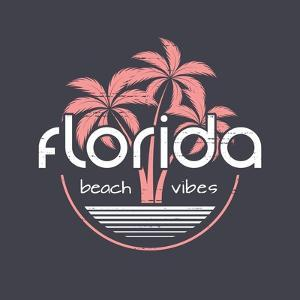 Florida Beach Vibes T-Shirt and Apparel Vector Design, Print, Typography, Poster, Emblem with Palm by rikkyal