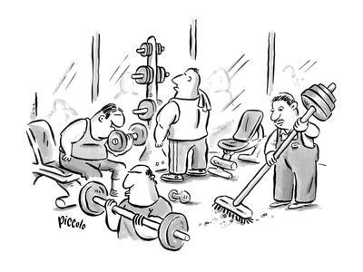 A janitor in a weight room has weights on the end of his broom. - New Yorker Cartoon