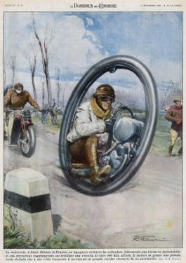 At Saint-Etienne a French Inventor Drives His Monocycle Inside the Wheel at Speeds up to 140 Km/H by Rino Ferrari