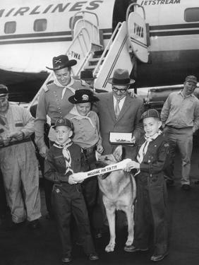 Rintintin Arrives in Washington, D.C. with a Group of Boy Scouts on April 9, 1959