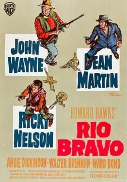 RIO BRAVO, clockwise: John Wayne, Dean Martin, Ricky Nelson on German poster art, 1959.