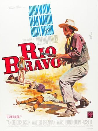 RIO BRAVO, John Wayne on French poster art, 1959.