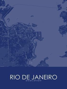 Rio de Janeiro, Brazil Blue Map