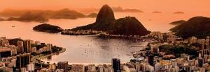 Rio de Janeiro Suggar Loaf and Botafogo Beach Viewed from Corcovado at Sunset