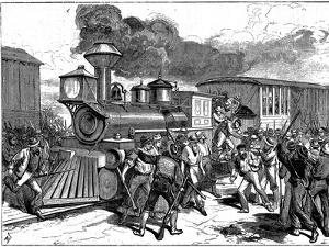 Riot by Railroad Workers at Martinsburg on the Baltimore-Ohio Railroad, USA, 1877