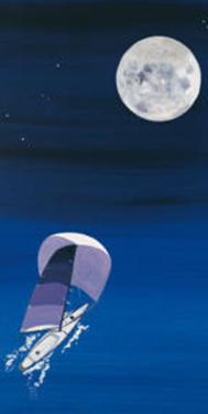 Sailboat & Moon by Rita Mangano