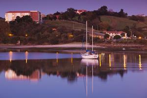 River at dusk, San Vicente de la Barquera, Cantabria Province, Spain