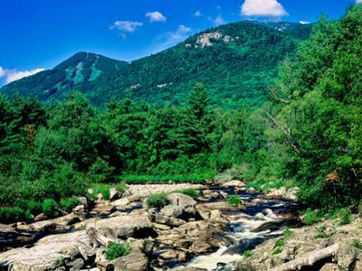 River flowing through a forest, West Branch Ausable River, Flume Falls, Adirondack Mountains, Ne...