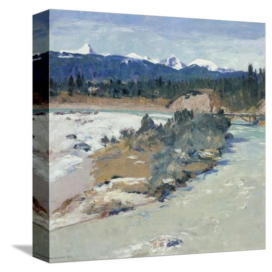 Riverbed of the Loisach-Eugen Bracht-Stretched Canvas