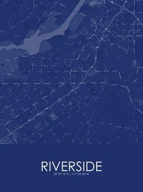 Riverside, United States of America Blue Map