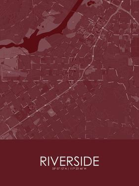Riverside, United States of America Red Map