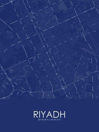 Riyadh, Saudi Arabia Blue Map