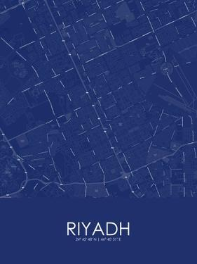 Riyadh, Saudi Arabia Blue Map