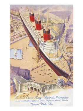 RMS Queen Mary Superimposed on Trafalgar Square