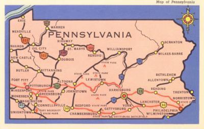 Road Map of Pennsylvania