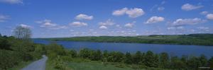 Road near a Lake, Owasco Lake, Finger Lakes Region, New York State, USA