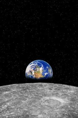 Earth Rising over Moon by Rob Atkins