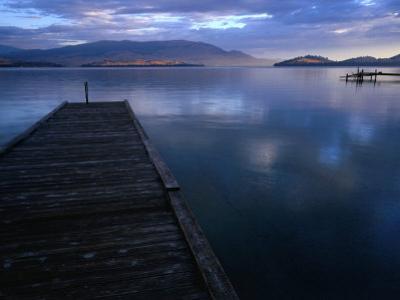 Jetty of Flathead Lake at Dusk, Montana, USA by Rob Blakers