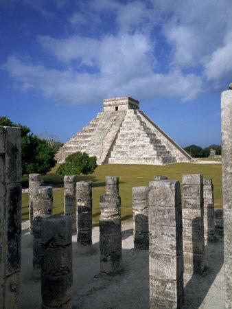 El Castillo from Mil Columnas, Grupo Delas, Chichen Itza, Yucatan, Mexico