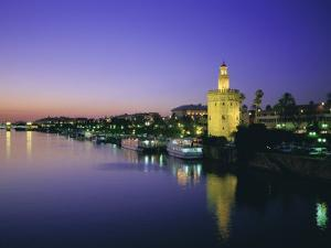 Torre Del Oro and Rio Guadelquivir in the Evening, Seville (Sevilla), Andalucia (Andalusia), Spain by Rob Cousins